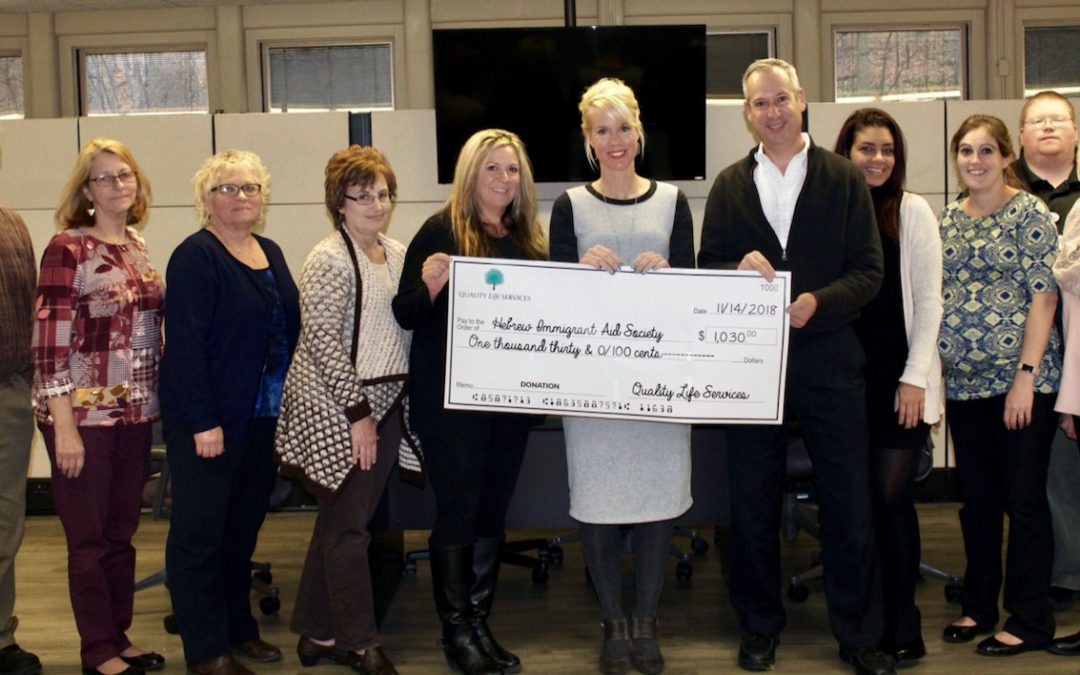 Quality Life Services donates $1,030.00 to H.I.A.S.